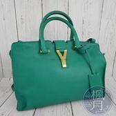 BRAND楓月 SAINT LAURENT YSL 聖羅蘭 311210 CABAS 綠色 Y字 醫生包 斜背包 手提包
