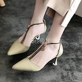 少女高跟鞋春款細跟小清新網紅拉鍊涼鞋尖頭中空單鞋牛油果綠 3c公社