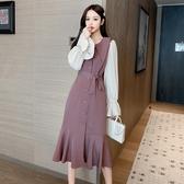 VK精品服飾 韓國風收腰翻領荷葉喇叭袖撞色長版長袖洋裝