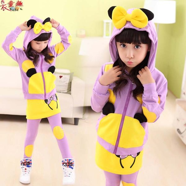 衣童趣 ♥甜美可愛 中大女童 點點 蝴蝶結 兩件式套裝 米老鼠 韓版百搭休閒運動服