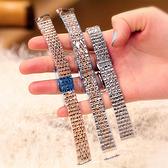 適用阿瑪尼手錶女配件DW男精鋼玫瑰金滿天星表帶女款時尚表錬鋼帶 歐歐
