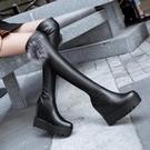 長靴 秋冬季厚底坡跟過膝靴瘦腿彈力靴內增高長筒過膝長靴高筒靴女靴子 霓裳細軟