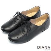 DIANA 學院風格--英倫車線精緻沖孔綁帶真皮平底鞋-黑★特價商品恕不能換貨★