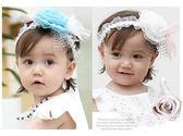 超萌蕾絲玫瑰花朵嬰兒童髮帶/寶寶網紗髮帶