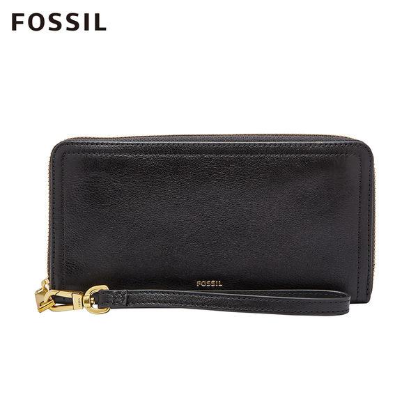 FOSSIL LOGAN 黑色多層真皮拉鍊RFID長夾 SL7831001