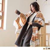 《ZC1310》溫暖毛料鮮艷配色流蘇圍巾 OrangeBear