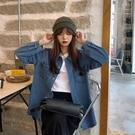 襯衫 自制新款韓版牛仔襯衣襯衫女設計感外套百搭寬松長袖上衣【牛年大吉】