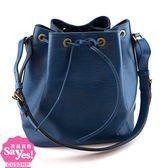 【奢華時尚】秒殺推薦!LV M44105 藍色EPI麥穗壓紋肩背中水桶包(八五成新)#22627