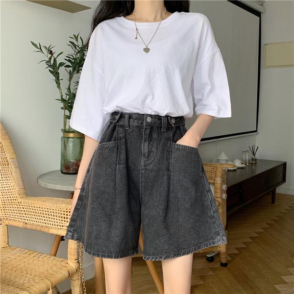 (免運)DE shop - 高腰顯瘦闊腿褲寬鬆-牛仔短褲 A-1403
