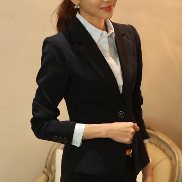 西裝外套小西裝女韓版修身面試正裝春秋上衣短款工作服女式休閒西服外套潮  伊蘿