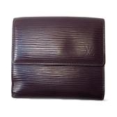LOUIS VUITTON LV 路易威登 紫色牛皮水波紋三折式短夾 Elise M6363K【BRAND OFF】