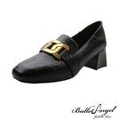 樂福鞋 皇家風格金屬釦2WAY跟鞋(黑)*BalletAngel【18-H161bk】【現+預】