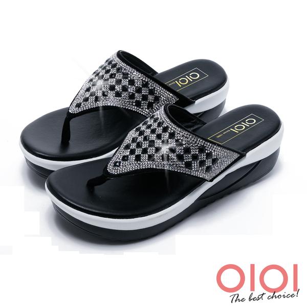涼拖鞋 MIT閃耀水鑽夾腳厚底涼拖鞋(黑)*0101shoes【18-5156bk】【現貨】