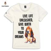 Hush Puppies 女裝手繪插畫狗字母印花短袖T恤