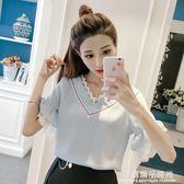 雪紡衫女夏裝新款韓版五分袖小衫寬鬆網紗拼接荷葉袖短袖超仙上衣
