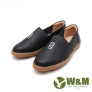 【南紡購物中心】W&M(女)小切口縫線懶人休閒 莫卡辛女鞋-黑(另有白)