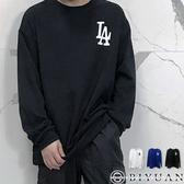 【OBIYUAN】厚磅長袖T恤 大學T LA 寬鬆 落肩 長袖衣服 共3色【K1013】