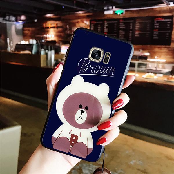三星S20 Ultra可愛玻璃殼手機殼 SamSung s20 布朗熊手機套 三星S20手機保護殼Galaxy S20+保護套