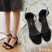 粗跟平底高跟鞋新款夏季韓版中跟百搭學生一字帶涼鞋仙女風 QQ29195『東京衣社』