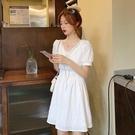 氣質洋裝 法式氣質泡泡袖方領白色連身裙女夏季溫柔風收腰顯瘦裙子-Ballet朵朵