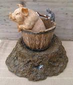 POLY小動物擺設擺飾園藝雜貨豬刷背桌上小流水-達可家居