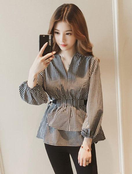 SHINE KOREA 長袖V領收腰小個子格子上衣(適合偏瘦版型)