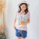 OrangeBear《AB3168》冰淇淋照片拼縫清爽橫條紋寬鬆落肩T恤.2色--適 2L~7L