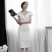 2019春夏裝新款韓版OL氣質女裝v領拼接蕾絲修身中長款開叉連身裙