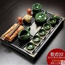 紫砂陶瓷功夫茶具套裝 家用簡約辦公實木抽屜式茶臺整套 LR2961【歐爸生活館】TW