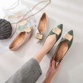 大尺碼女鞋34~43 2020新款韓版百搭時尚金屬方扣尖頭淺口樂福鞋 復古休閒平跟懶人鞋低跟鞋 3色