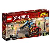 70667【LEGO 樂高積木】旋風忍者系列 Ninjago -赤地的刀鋒轉輪車及冰忍的雪地摩托車(376pcs)