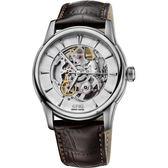 ORIS Artelier Skeleton 藝術家雙鏤空機械腕錶-銀x咖啡/40mm 0173476704051-0752170FC