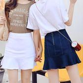 包臀裙黑色牛仔裙半身裙女高腰Aa字裙褲裙顯瘦荷葉邊防走光魚尾短裙 薔薇時尚