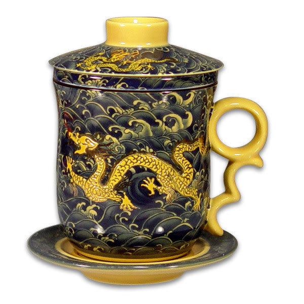 鹿港窯~ 居家開運珍藏~陶瓷馬克杯組【深寶藍黃金龍】◆附精美盒