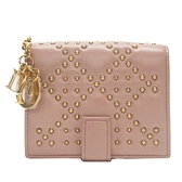 Dior 迪奧 藕粉色羊皮鉚釘對折短夾 Cannage Studded Lady Dior Eden【BRAND OFF】