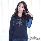 Victoria 織帶繡字異材質拼接長袖T-女-深藍