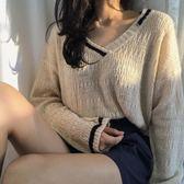 春裝2018新款女v領百搭針織衫氣質寬鬆撞色毛衣上衣潮禮物限時八九折