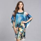 睡衣-真絲裙裝短袖花朵印花蝙蝠袖寬鬆女居家服3色73nq39【時尚巴黎】