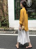 2021新款秋裝女韓版純色小眾長袖襯衫+網紅中長款絲綢百褶半身裙兩件套裝小清新不撞款