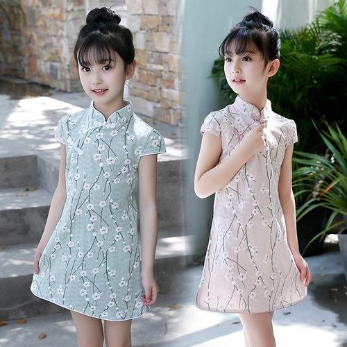 中大童短袖洋裝 民族風碎花連身裙 旗袍 童裝 MC32405 好娃娃