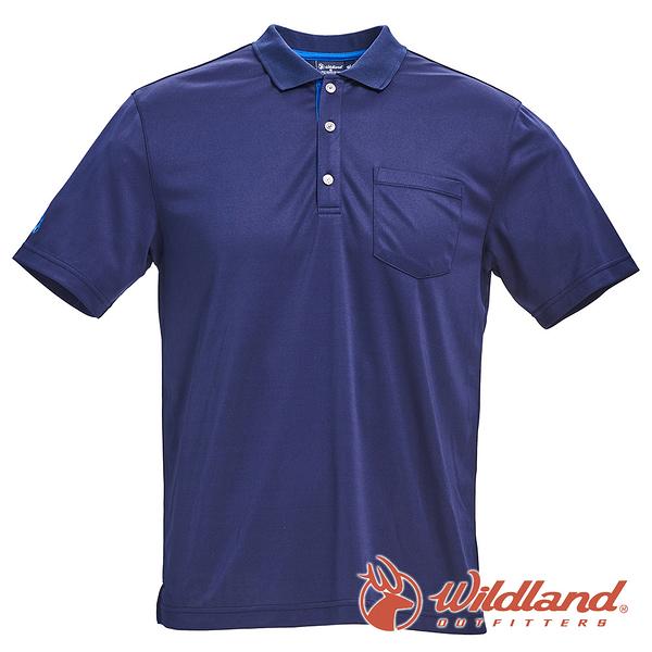 【wildland 荒野】男 椰炭紗YOKE領抗菌上衣『深藍』0A71652 T恤 POLO衫 上衣 男版 短袖 排汗 休閒