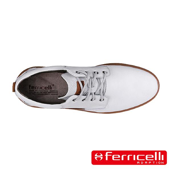 【ferricelli】Outback網格壓紋牛皮綁帶男仕休閒鞋  白色(F51403-ICE)