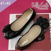 大尺碼女鞋-凱莉密碼-秋冬新色漆皮緞帶蝴蝶結蛋捲平底鞋娃娃鞋1cm(41-45)【GL728-8】亮黑
