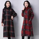 秋冬裝新款復古文藝大碼寬鬆加厚毛呢格子連衣裙女時尚打底中長裙