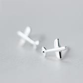 925純銀耳環(耳針式)-可愛光面小飛機情人節生日禮物女飾品73dr148[時尚巴黎]