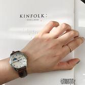 手錶女韓版簡約原宿風學生表女表復古棕色黑色皮帶手表文藝情侶石英表 街頭布衣