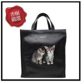 巴黎世家貓咪皮革手提直式購物包544308全新商品