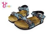 柏肯真皮涼鞋 童涼鞋 足弓型 兒童休閒涼鞋 I6723 #藍色◆OSOME奧森童鞋
