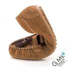 G.Ms. 撞色流蘇柔軟真皮莫卡辛豆豆鞋-焦糖駝