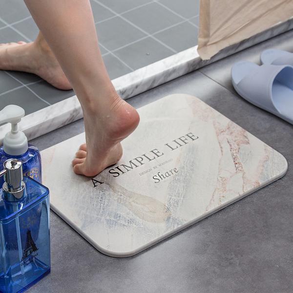 樂嫚妮 珪藻土地墊 大理石紋 銀 吸水硅藻土速乾地墊 40X30cm 浴墊  腳踏墊